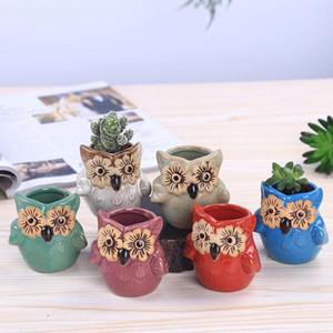 Fleur Yeux Hibou animal charnu Flowerpot Planters européenne Décoration créative personnalisé ornements en céramique Mini mignon plantes en pot