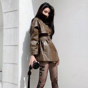 Женская кожаная из искусственной осени с двусловечностью Mid длиной PU куртка с поясом женщин плюс размер повседневное велосипедное пальто Jaquea Feminina Streetwood1