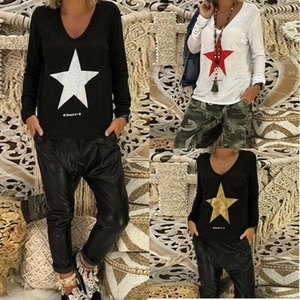 Hot Fashion Women T-Shirt Ladies Summer Casual Star Printed Long Tops Shirt Girls Long Sleeve T-Shirt Outwear new1