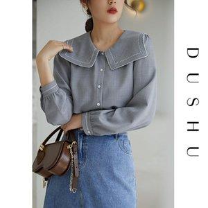 Dushu Plus Size Sailor Kragen Stickerei Bluse-Hemd Frauen Frühling Herbst Langarm Elegant Top Weibliche Büro Kausale Bluse