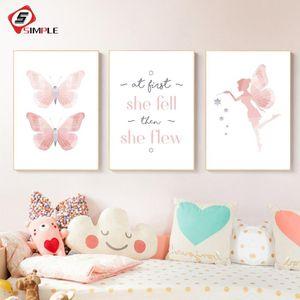 Petite Fée Papillon nordique Affiches et sérigraphies Wall Art peinture sur toile Chambre scandinave Accrochage bébé Chambre décor