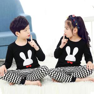 New Autumn Cartoon Pajamas For Girls Boys Children's Pajamas Long-sleeves Cotton 2pcs Pyjamas Set Baby Clothes Kids Sleepwear 201225