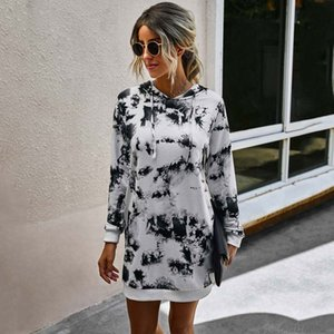2020 Autumn Tie Dye Hoodie Kleid Frauen-Winter-Krawatten-Sweatshirt-Kleid weiblich drucken lange Hoodie Damen-lange Sweatshirt Frau