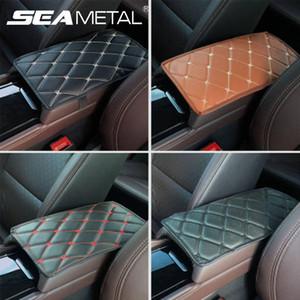 Apoyabrazos coche del amortiguador de cuero de la PU de los apoyabrazos del coche tapizado de los asientos universal Center Console Auto Apoyabrazos Caja de almacenamiento de Protección Mat Negro