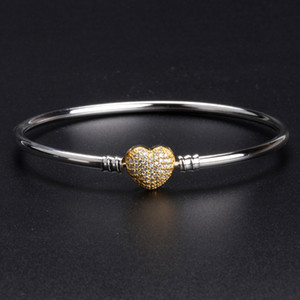 18K gold Heart Clasp Bangle Bracelet sets Original Box for Pandora 925 Sterling Silver Charm Bracelets Women Luxury Jewelry