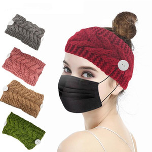 Winter Warm Knit Face Mask Headband with Button Ear Protective Women Gym Sports Yoga Hairband Hairlace Headress Hair Accessories