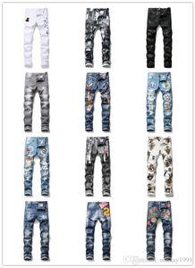 Mens Designer Ripped moto Jeans luxury barnd Slim Fit Button Fly Motorcycle Biker Denim For Fashion Designer Hip Hop Mens Jeans size 29-38