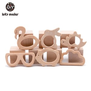 Let's Make 10pc lot Organic Baby Wooden Teether Natural Teething Toy Baby Shower Gift Toddler Teether Newborn Baby Teether 201020