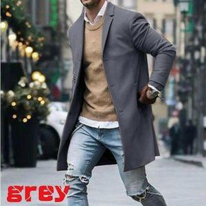 Autumn Winter Men Brand Fleece blends Jacket Male Coat casual Solid Slim collar coat Long trench Streetwear trench men