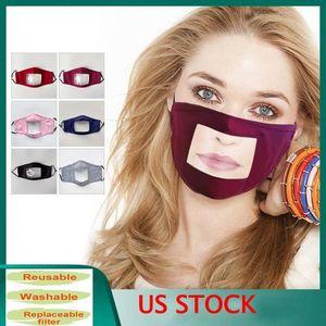 EU Stock Transparent Face Mask Cotton Lip Idioma Camouflage nevoeiro Máscaras Deaf Reading Boca Tampa de Janela FY9148 lavável ajustável