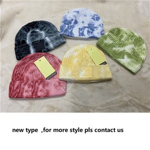 2021 Winter Tie Dye Knitted Hats Warm Beanie For Adults Man Woman Skull Caps Soft Stretch Cable Outdoor Wool Cap Knit Beanie D102203