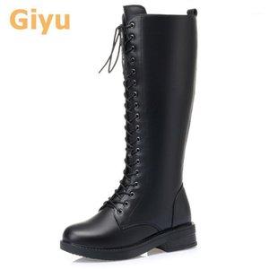 Giyu 2020 Botas de cuero genuino Botas de la rodilla-High Motorcycle Boots Zapatos de otoño Lana Cálido Invierno Gran tamaño Lace-Up1