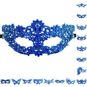Неодержащие тиснение глазки для глаз Дамы для кружева SEX SEXY HALLOWEEN Карнавал Masquerade 30 масок Половина лица Cynhy Hot Mask Ball Незащитный Blue QXCJ