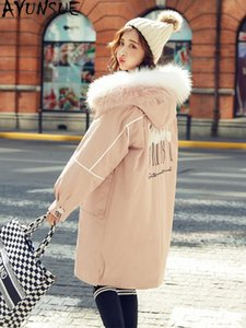 AYUNSUE Woemn's Winter Down Jacket Fashion Raccoon Dog Fur Collar Hooded Parkas Thick Long Puffer Coat Female Jacket 2020