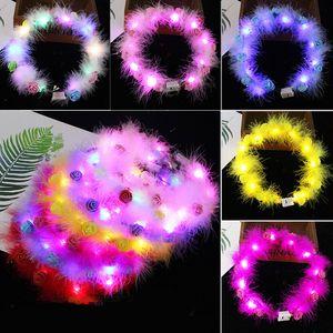 LED Tüy Hairband Işık Ebedi Garland Işık Up Saç Çelenk Noel Parlayan Çelenk Parti Çiçek Kafa Dekorasyon GWD4451