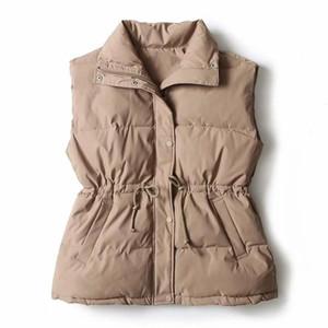 Para mujer nueva chaqueta sin mangas del chaleco abajo chaleco de algodón de invierno de Corea del cordón de la capa del otoño chaleco de las mujeres más el tamaño de Gilet sólido Femme