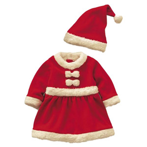 Christmas Children Girls Bow Dresses + Hat Clothing Set New Toddlers Baby Santa Claus Suit Red Warm Vestidos Costumes Set 201020