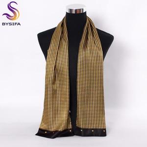 [Bysifa] männer schwarz gold seide schals winter mode zubehör 100% natürliche seide männlich karierte long schals cravat 160 * 26 cm