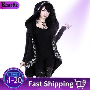Rosetic Hoodies Gothic Casual Cool Chic Black Plus Size Women Sweatshirts Loose Sweatshirt Hooded Plain Print Female Punk Hoodie 201007