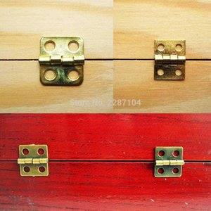 12pcs Mini Small Light Golden Brass Bronze Jewelry Chest Gift Music Box Wood Case Furniture Dollhouse Cabinet Door Hinge jllJOz yy_dhhome