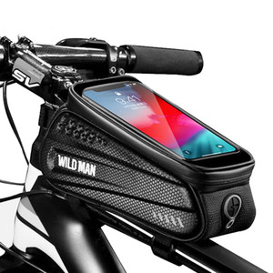 Wild Man Impermeabile Bicycle Blocking Top Top Tube Cycling 6.5in Supporto per telefono cellulare Supporto per montaggio Bracket Touch Screen Bike Bag Q1230