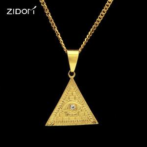 2020 New alta qualidade de aço inoxidável Vintage pirâmide Olho de Horus moda Homens Hiphop colar de jóias masculinas