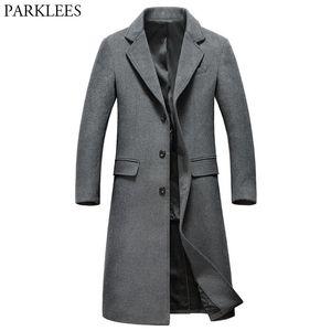 Extra Long Grey Wool Trench Uomini 2020 Nuovo Inverno Mens misura sottile cachemire cappotto monopetto maschile cappotto Windbreaker