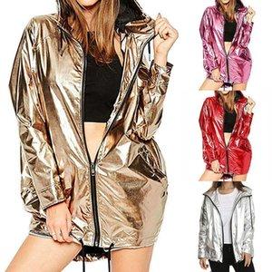 New Women Fashion Spring Autumn Jacket Long Sleeve Pvc Raincoat Zipper Punk Neutral Waterproof Coat