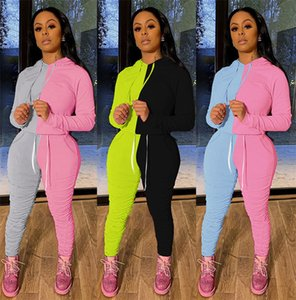 Stacked Leggings Women 2PCS Sets Sports Hoodies Stacked Pants Two Piece Suits Fashion Patchwork Ladies 2PCS Outfits