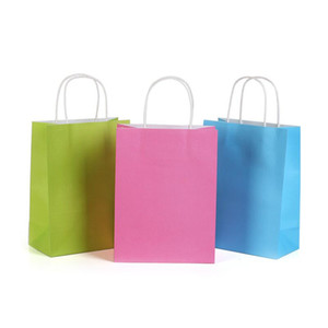 Assorted Small Neon Colored Paper Gift Bags with Handles Kraft Paper Party Bags Birthday Wedding Party Favor Goodie Bag KKF2006