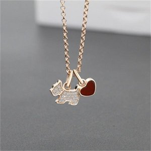Gold and silver personalized S925 sterling silver dog necklace set with diamond pendant agate necklace female holiday gift