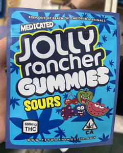 2020U New Jolly Rancher Gummies Sours Frutta Sapore di imballaggio Borse da imballaggio 600 mg California Mylar Plastic Imballaggio odore Antolo Borsa Caramella