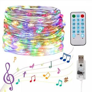 5M / 10M USB الصوت المنشط LED الموسيقى ضوء سلسلة جارلاند ديكور عيد الميلاد بعد اللوازم تحكم إضاءة احتفالات حفل زفاف