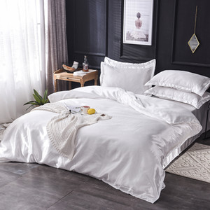 Imitation polyester Bedding Set King Queen Twin 3 4 5pcs Bed Linen Solid Color Satin Bedding With Duvet Cover Bed Sheet Pillowcases