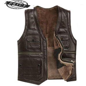 Мужские жилеты кожаные полные овчины мужские роскоши Gilet мотоцикл жилет для мужчин карманы черные коричневые поддельные пальто 22257-61