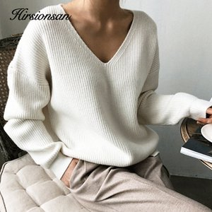 Hirsionsan Thicken Sweater Women Vintage Minimalist Autumn Winter Sweater Korean Casual Solid Knitted Pullovers V Neck Tops 201017