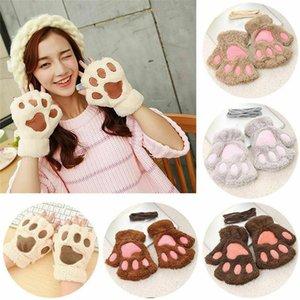 Cartoon Bear Lovely Gloves New Women Bear Cat Claw Mitten Plush Glove Costume Warm Winter Half Finger
