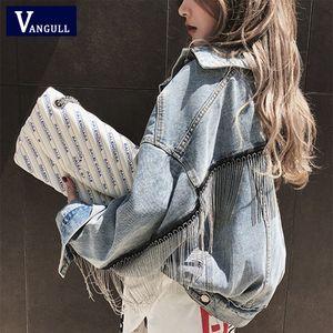 Vangull New Women Denim Long Batwing Sleeve Jacket Spring Beading Tassel Short Loose Girl Jeans Coats Fashion Harajuku Outerwear 201013