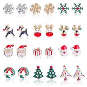 12 styles Christmas Charms Earrings Diamond Tree Earrings Alloy Drip Oil Stud Earring Bells Snowflake Christmas Earrings party favor YYA516