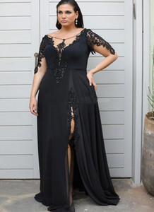 2020 Lace Appliqued Plus Size Prom Dresses With short Sleeves side slit crew Sheer Neck Mother of the bride Dresses Split Evening Gowns