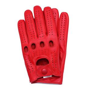 Nueva llegada para hombre de los guantes de piel de cabra de cuero guantes de montar conducción dedo completo sin forro para no Slip Hombre manopla de cuero real