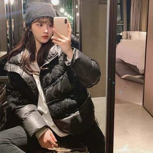 Women Jacket Down Parkas Coat Winter Style Sequins Shiny Jackets Pocket Outsize Lady Warm Coats White and Black Asain Size S-L
