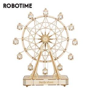 Robotime DIY DIY de madeira Ferris roda modelo com tocar brinquedos de música para crianças aniversário lj200925