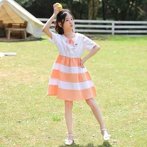 A1Xqy niñas tong falda Qun Qun vestido coreano 2020 nuevo estilo de la falda de los niños del verano de las pinzas grandes de los niños de rayas princesa larga I6dwS Summ