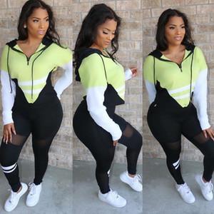مقنع المرقعة إمرأة رياضية مصمم على النقيض من اللون مخطط سليم الرياضة للياقة البدنية عارضة ملابس للسيدات 2 قطعة