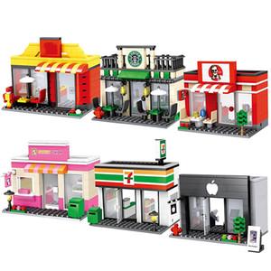 Şehir Mini Sokak Perakende Mağaza Ville Dükkanı Minyatür Yapı Taşı Yol Köşe 3D Model Cafe Leduo Marka Şehir Tiendas Oyuncak Q1222