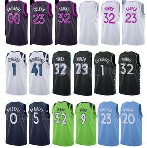 Şehir Kazanılan Baskı Baskılı Basketbol Ricky Rubio Jersey 9 Josh Okogie 20 Naz Reid 11 Jake Layman 10 Jaden McDaniels Juancho Hernangoz