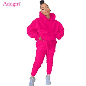 Adogirl 2020 Fall Winter Solid Fleece Two Piece Set Women Long Sleeve Hooded Sweatshirts Top Sweatpants Jogging Suit Tracksuits C1103