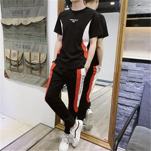 Tracksuits Designer Men 2pcs Tracksuits Fashion Trend Ice Silk Thin Section Casual Sets Trousers Short T-shirt Summer Letter Printing