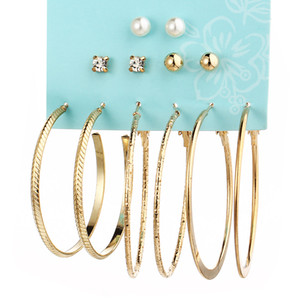 6 Pairs Artificial Pearl Set Large Round Ring Good-looking Character AlloyEarrings Woman Ear Stud Cheap Daily Female Ornament